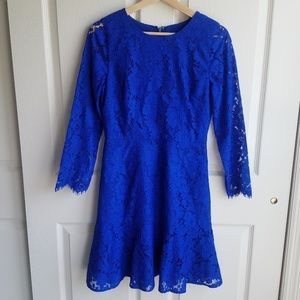 J Crew Cobalt Blue Lace Floral A Line Dress Size 2